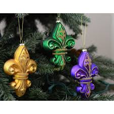 mardi gras ornaments mercury glass mardi gras fleur de lis ornaments set of 3