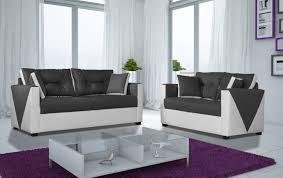 canap fixe 2 places canapé fixe 2 places contemporain en tissu et pu blanc anthracite