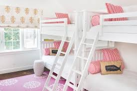 Bunk Beds Pink White Bunk Beds With Pink Pillows Transitional S Room
