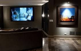interior home theater room design ideas big wall tv gray colored