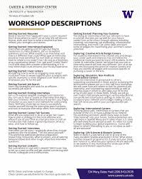 Job Shadowing Resume by Uw Career Internship Center Workshops And Events