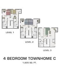 Floor Plans For MSU Students Student Housing In East Lansing - One bedroom townhome