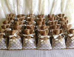 bridal tea party favors 50 filled potpourri lace covered burlap favor bags wedding