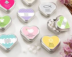 mint to be favors metal heart shaped mint tin christening and baptism favors by