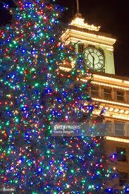 Portland Christmas Lights Christmas Tree And Clock Tower Portland Oregon Usa Stock Photo