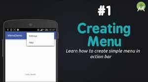 tutorial android menu bar create menu in actionbar tutorial android studio youtube