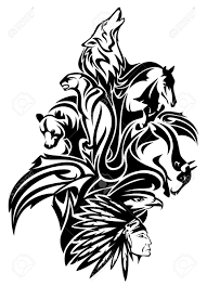 chief with spirits design black and
