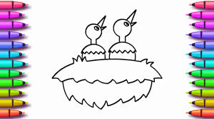 birds nest coloring page for kids youtube