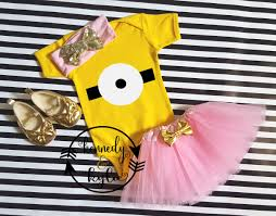 minions costume for toddlers pink minion birthday tutu costume for baby girls toddler girls 0 3