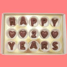 anniversary gifts for him 2 years happy 2 years large milk chocolate letters by what candy says on