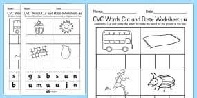 cvc words cut and paste activity sheets e cvc worksheets cvc