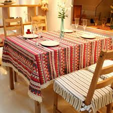 yazi red rectangle 90x140cm bohemian style lace table cover dining