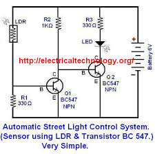 automatic street light control system sensor using ldr
