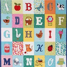 colorful abc farm animals square panel fabric by andover animal