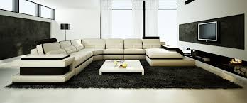 Modern Bonded Leather Sectional Sofa Casa 6122 Modern White And Black Bonded Leather Sectional Sofa