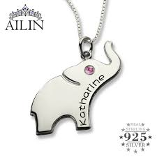 necklace with name and birthstone lucky birthstone elephant necklace silver name necklace