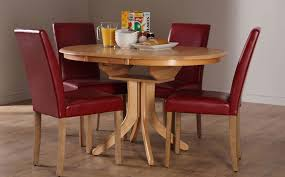 Hudson Round Extending Dining Table And  Chairs Set City Red - Red kitchen table and chairs