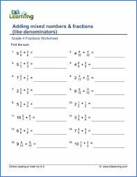 grade 4 fractions worksheets free u0026 printable k5 learning