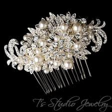 wedding hair combs vintage style antique pearl and rhinestone silver bridal hair comb