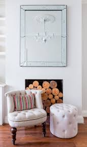 Armchair With Storage Electric Fireplace Logs Living Room With Armchair Etched Mirror