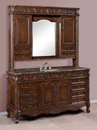 64 inch single bath vanity with granite top and hutch