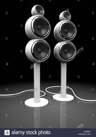 3d illustration of modern audio speakers over dark background