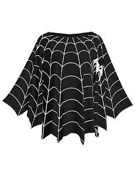 halloween spider web printed plus size poncho blouse black one