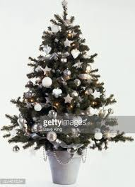 a tree decorated with silver and white baubles stock