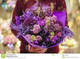 different color purples bouquet of different purple color flowers stock photo image