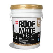 gaf 5 gal white roof mate top coat elastomeric roof coating