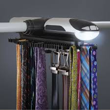 Ideas For Wall Mounted Tie Rack Design The Motorized Tie Rack Hammacher Schlemmer