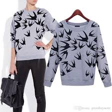 2018 2015 autumn winter women sweatshirt swallow petrel print