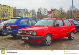 red volkswagen golf old red volkswagen ii parked editorial stock image image 66721159