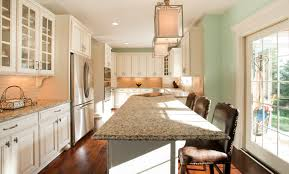 wood countertops narrow kitchen island lighting flooring
