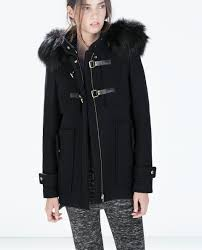 womens duffle coat with fur hood jacketin