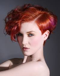 pink color on shiny red hair for super short hairstyles cool