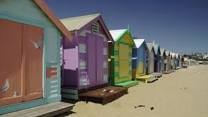 melbourne colorful beach houses at brighton beach stock footage