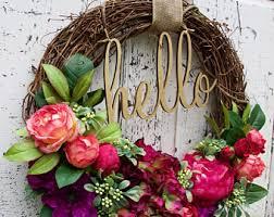 hello wreath etsy