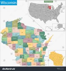 Map Wisconsin Map Wisconsin State Designed Illustration Counties Stock