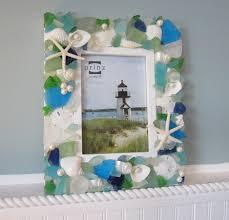 seashell frames for beach decor nautical shell frame w sea glass