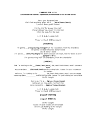 Chandelier Lyrics Worksheet Chandelier By Sia