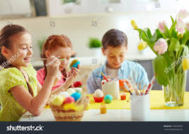 Decorating Easter Eggs Preschool by Preschoolers Decorating Easter Eggs Stock Photo 178332959