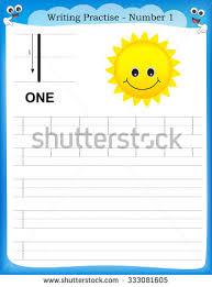 writing practice number one printable worksheet stock vector