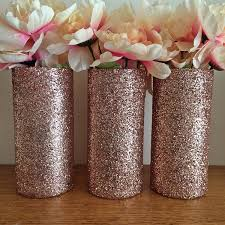 Bridal Shower Decor by 3 Rose Gold Glitter Vases Rose Gold Centerpiece Wedding