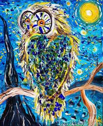 mosaic owl owl print poster van gogh starry night