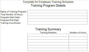 employee training schedule template for new employees excel tmp
