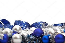 Blue And Silver Christmas Decorations Images by Silver And Blue Christmas Decorations And Tree Adornments On White