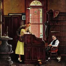 marriage license painting print on canvas by norman rockwell