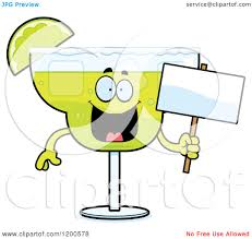 margarita clipart cartoon of a happy margarita mascot holding a sign royalty free