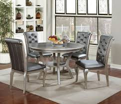 Silver Dining Tables Amina Contemporary Style Chagne Finish 5 Pc Finish Dining